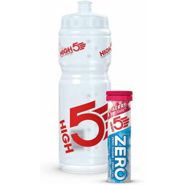 Pack Hydratation HIGH5 : Bidon (750 ml) + + 10 Boissons Anticrampes ZERO Fruits des Bois