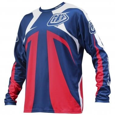 Maillot TROY LEE DESIGNS SPRINT REFLEX Manches Longues Rouge/Blanc/Bleu