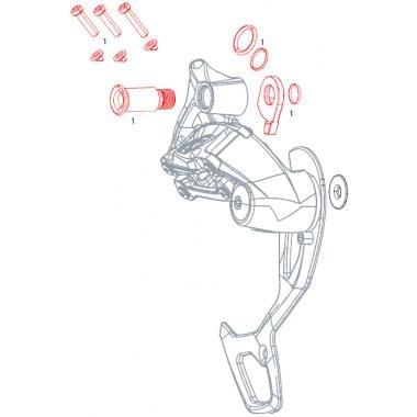 Vis de Fixation et Butée de Dérailleur Arrière SRAM GX 2x11V #11.7518.049.000