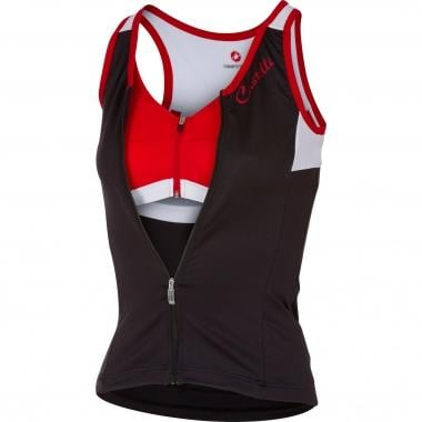 Jersey CASTELLI SOLARE Mulher Sem Mangas Preto/Branco/Vermelho