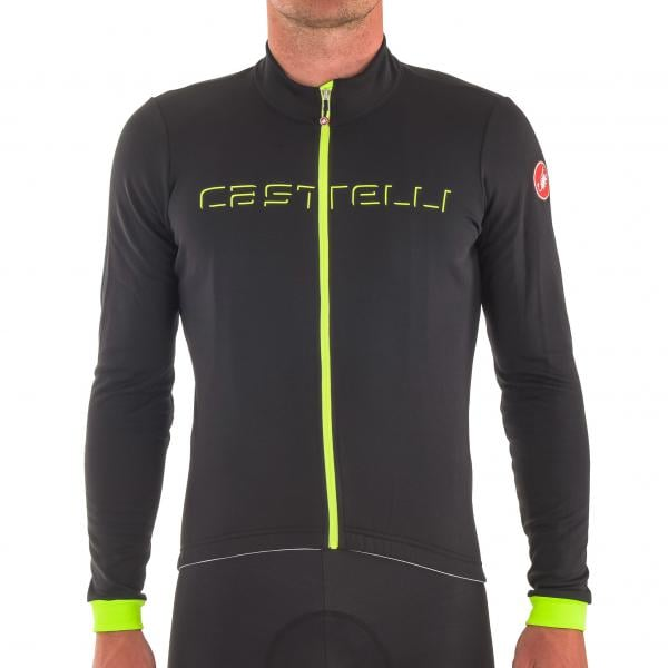 CASTELLI FONDO FZ Long-Sleeved Jersey Black Neon Yellow 2017 ... 8a30aa52c