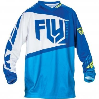 Maillot FLY RACING F-16 Mangas largas Azul/Blanco/Amarillo fluorescente 2017
