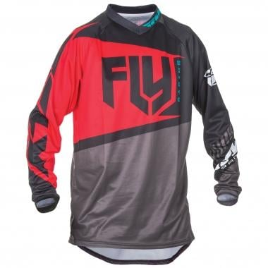 Maillot FLY RACING F-16 Mangas largas Negro/Gris/Rojo 2017