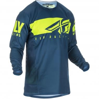 Maillot FLY RACING KINETIC SHIELD Enfant Manches Longues Bleu/Jaune Fluo 2019