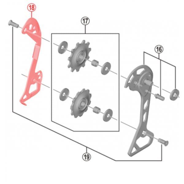 Rear Derailleur Parts Shimano SLX RD-M7000-11-GS Rear Derailleur Inner Cage