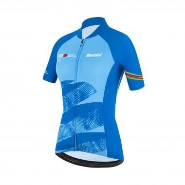 Maillot SANTINI UCI OFFICIAL WORLD TOUR Femme Manches Courtes Bleu 2021