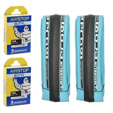 MICHELIN PRO4 SERVICE COURSSE 700x23c Folding Tyre Set + AIRSTOP 700x18/25c 2 Inner Tubes Presta 52 mm
