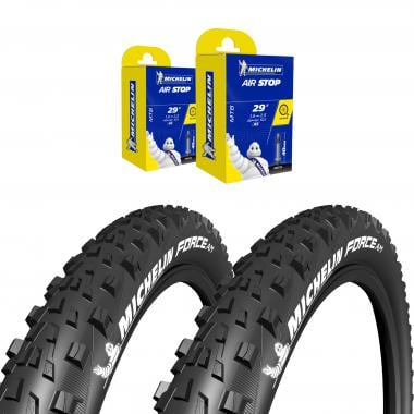 Lot 2 Pneus MICHELIN FORCE AM PERFORMANCE LINE 29x2,35 GUM-X Tubeless Ready Souple 905226 + 2 Chambres MICHELIN A4 29 Presta