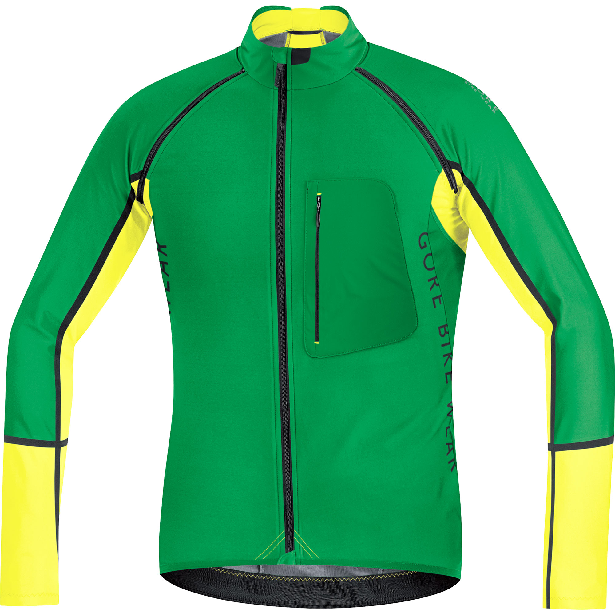 Maillot GORE BIKE WEAR ALP-X PRO WINDSTOPPER SOFT SHELL ZIP-OFF Mangas largas desmontables Verde/Amarillo