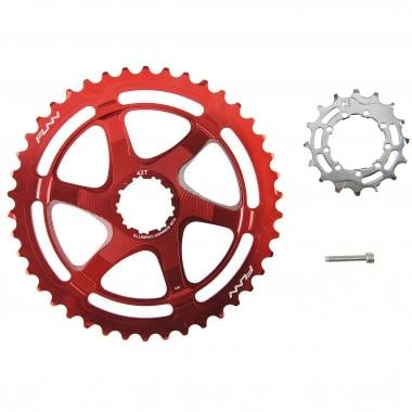 Kit de Conversion 40/42 Dents FUNN pour Cassette 10V Shimano avec Pignon 16 Dents Rouge
