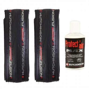 HUTCHINSON FUSION 5 PERFORMANCE 700x25c Set of 2 Tubeless Ready Folding Tyres + PROTECT'AIR MAX Tyre Sealant (120 ml)