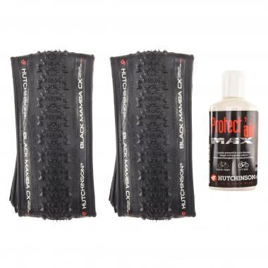 Paire de Pneus HUTCHINSON BLACK MAMBA CX 700x34c Protect'Air Max Tubeless Souple + Liquide Préventif PROTECT'AIR MAX (120 ml)