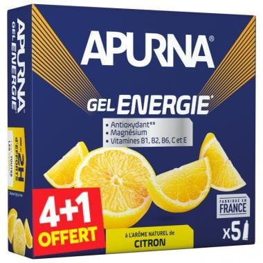 Pack de 4+1 Gels Énergétiques APURNA GEL ENERGIE 2H D'EFFORTS Citron