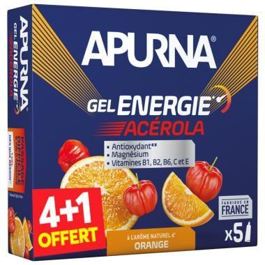 Pack de 4+1 Gels Énergétiques APURNA GEL ENERGIE PASSAGE DIFFICILE Acérola Orange (35 g)