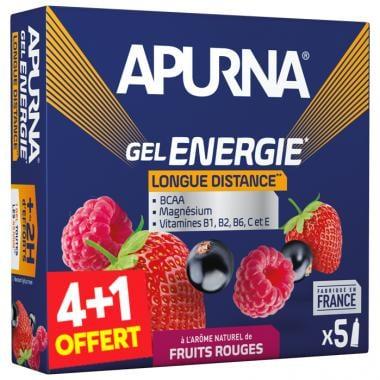 Pack de 4+1 Gels Énergétiques APURNA GEL ENERGIE LONGUE DISTANCE +2H D'EFFORTS Fruits Rouges (35 g)