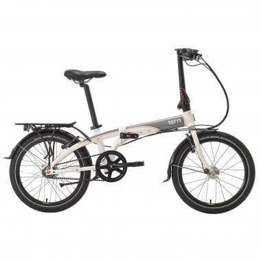 Bicicleta plegable TERN LINK D7i + Dinamo y portaequipajes Blanco/Gris