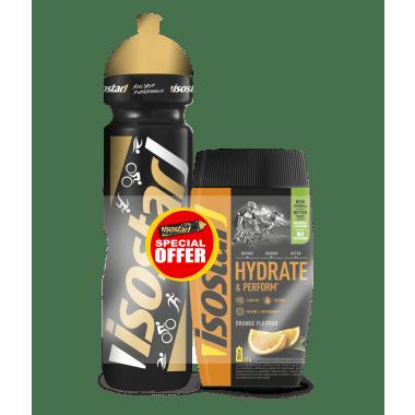 Bebida energética ISOSTAR HYDRATE & PERFORM Naranja (500 ml) + Bidón 1L Gratis