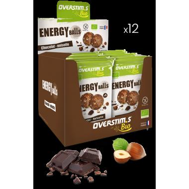 Pack de 12 Sachets de 6 Boules Energétiques Bio OVERSTIM.S Energy Balls Chocolat/Noisette