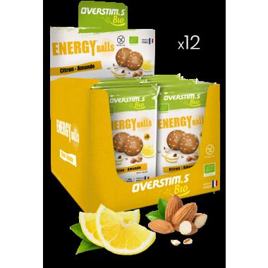 Pack de 12 Sachets de 6 Energy Balls Bio OVERSTIM.S Citron/Amande
