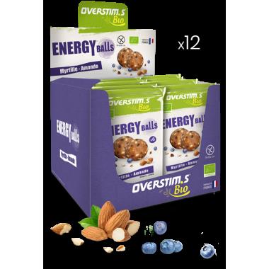 Pack de 12 Sachets de 6 Energy Balls Bio OVERSTIM.S Myrtille/Amande