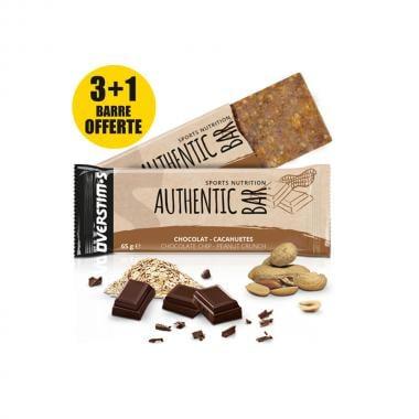 Pack de 3+1 Barres Énergétiques OVERSTIM'S AUTHENTIC BAR Chocolat-Cacahuètes (65 g)