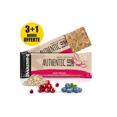 Pack de 3+1 Barres Énergétiques OVERSTIM'S AUTHENTIC BAR Fruits Rouges (65 g)