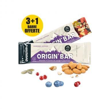 Pack de 3+1 Barres Énergétiques OVERSTIM'S ORIGIN BAR Myrtilles-Cranberries (40 g)