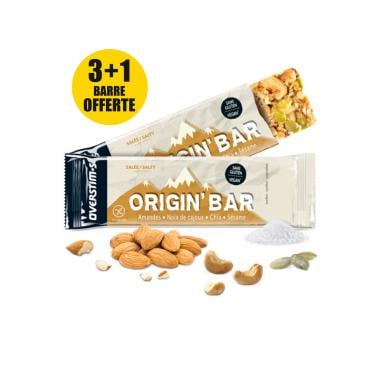 Pack de 3+1 Barres Énergétiques OVERSTIM'S ORIGIN BAR Cajou-Cacahuète-Amande(40 g)