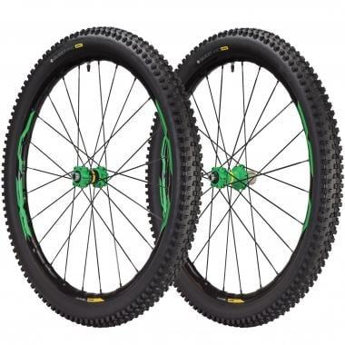 """Par de ruedas MAVIC XA ELITE 27,5"""" Eje delantero 9/15 mm - Trasero 9/12x135/12x142 mm + Cubiertas Quest Pro 2,4"""" Negro/Verde"""