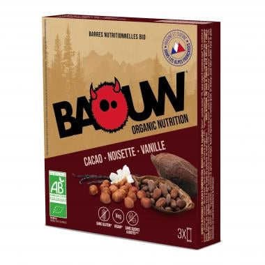 Pack de 3 Barres Énergétiques BAOUW! BIO Recette aux Fruits (Cacao - Noisette - Vanille)