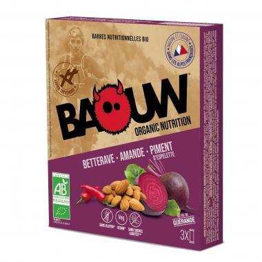 Pack de 3 Barres Énergétiques BAOUW! BIO Recette Salée (Betterave - Amande - Piment d'Espelette)