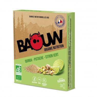 Pack de 3 Barres Énergétiques BAOUW! BIO Recette Salée (Quinoa - Pistache - Citron Vert)