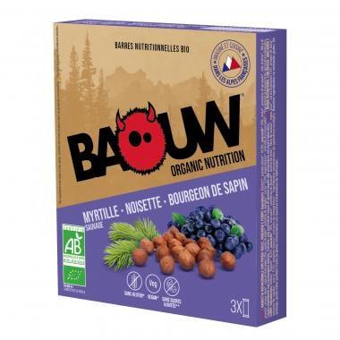 Pack de 3 Barres Énergétiques BAOUW! BIO Recette aux Fruits (Myrtille Sauvage - Noisette - Bourgeon de Sapin)